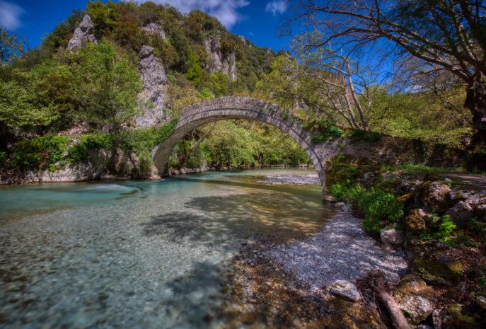 Old stone bridge in Klidonia Zagori, Epirus, Greece.
