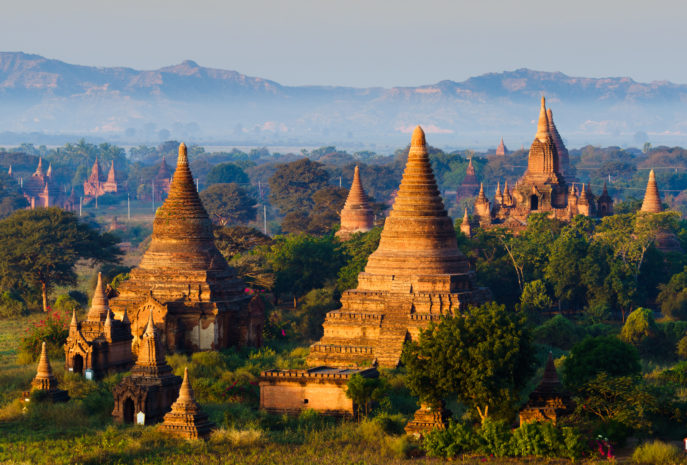 The Temples of bagan at sunrise, Mandalay,Myanmar